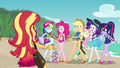 Mane Six looking suspiciously at Sunset EGFF.png