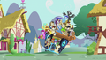 Pile of ponies on DJ Pon-3's mobile DJ station S5E9.png