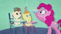 Pinkie serving food to Pound and Pumpkin BFHHS2