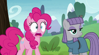 Pinkie staring in shock; Maud staring blankly S8E3