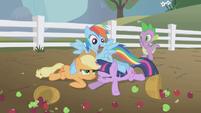 Rainbow Dash crash-lands into Applejack and Twilight S1E03 (1)