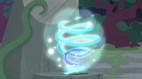 Star Swirl's journal emitting swirling magic S7E25