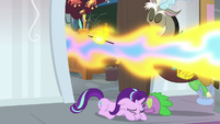 Starlight and Spike duck under Smolder's fire S8E15
