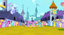 Twilight Sparkle trotting alongside her friends 2