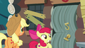 AJ and Apple Bloom see door about to burst open S7E13.png
