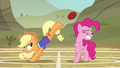 Applejack bucks the ball while Pinkie flinches S6E18.png