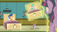 Flurry Heart levitates Aquamarine's hospital bed again S7E3
