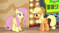 Fluttershy acting coy toward Applejack S6E20