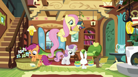 Fluttershy and Crusaders feeding animals S8E12