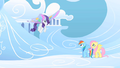 Fluttershy and Rainbow Dash gaping at Rarity's new wings S1E16.png