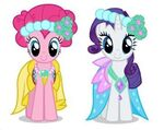 Pinkie Pie and Rarity as bridlemaids