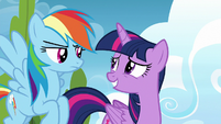 Rainbow Dash uncertain; Twilight Sparkle embarrassed S6E24