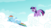 Rainbow lying down on the cloud S4E21