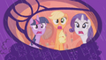 Rarity, Twilight, and Applejack afraid of the rain S1E8.png