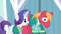 Rarity pulls Big Mac's bowtie using magic S4E14