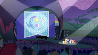 Applejack, Rara, and CMC on festival stage S5E24