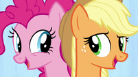 "Applejack and Pinkie ""we're a work in progress"" S7E14"