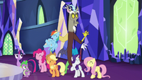 Discord appears behind main cast S5E22