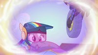 Indigo Zap's bike jumps over Rainbow Dash EGFF