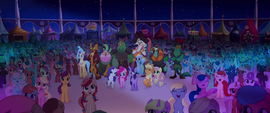 Mane Six, friends, and ponies cheer for Songbird MLPTM
