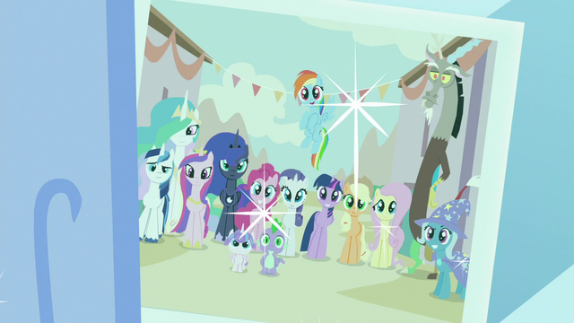 File:Photo of Mane Six and friends at Our Town S7E1.png