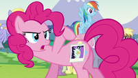 Pinkie shows a picture of Coloratura's cutie mark S5E24