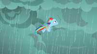 Rainbow Dash flying into the clouds S8E25