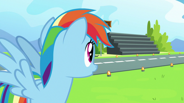 File:Rainbow Dash notices the nearby bleachers S7E7.png