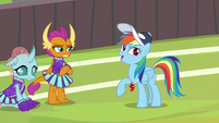 Rainbow Dash scoffs at Smolder's words S9E15