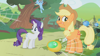 Rainbow about to land behind Rarity and Applejack S01E10