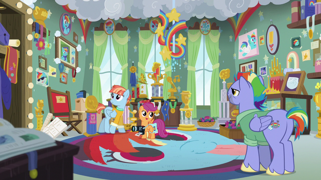 File:Scootaloo, Bow, and Windy in Rainbow's trophy room S7E7.png
