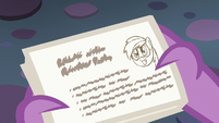 Spike reads Starlight's lesson card about Rainbow Dash S6E21