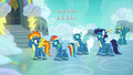 Spitfire, RD, Fleetfoot, and Soarin return to barracks S7E23.png