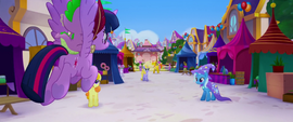 Twilight and Spike fly across the festival grounds MLPTM
