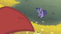 Twilight tries to convince the dragon to leave S1E07