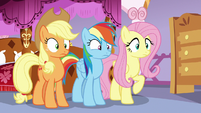 AJ, Rainbow, and Fluttershy in Rarity's bedroom S7E19
