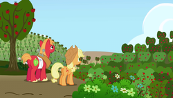 Big McIntosh and Applejack looking at Sweet Apple Acres S01E04