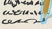 Floating pencil writing a haiku S7E21