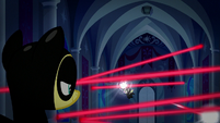 Fluttershy watches Spike disable the lasers S9E4