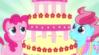 Pinkie Pie and Mrs. Cake looking at cake S2E24