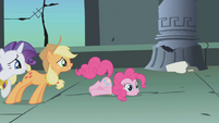 Pinkie Pie falls over from leaning too much S1E02