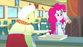 Pinkie Pie sipping fruit juice in the cafeteria SS10.png