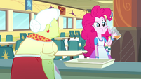 Pinkie Pie sipping fruit juice in the cafeteria SS10