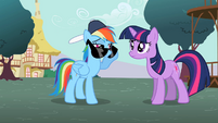 Rainbow Dash peeking over sunglasses S2E07