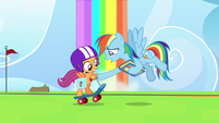 Rainbow Dash stops Scootaloo from leaving S7E7