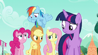 Rarity's friends look at each other S6E9