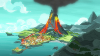 Shot of Rockhoof's village with erupted volcano S7E16
