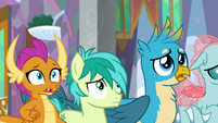 Smolder, Sandbar, and Gallus horrified S9E3