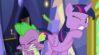 Twilight and Spike dodging flung mashed peas S7E3