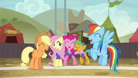 AJ, Fluttershy, Pinkie, Snails, and Rainbow laughing S6E18